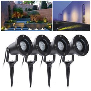 4X LED Gartenstrahler Spotbeleuchtung 4W Wasserdicht Aussen GU10 Gartenlampe