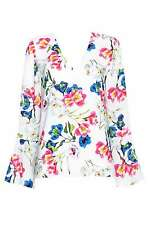 Multi Coloured Floral Flute Sleeve Top 16