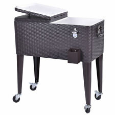 Outdoor Rattan Portable Rolling Cooler Bar Drink Cart Ice Beer Beverage Chest