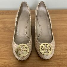 Women's Tory Burch Chelsea Beige Python Size 7 Embossed Leather Wedge Pumps
