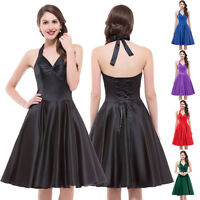 LADIES SWING 50's 60s VINTAGE PROM PIN UP PARTY EVENING DRESS BLACK/RED+S M L XL