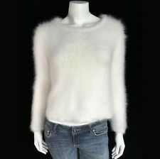 """Fuzzy 70% Angora Vintage Sud Express Off-White Back-Button Sweater 34""""-Bust"""