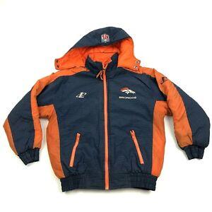 VINTAGE Logo Athletic Denver Broncos Jacket Youth Size Med 10-12 Puffer Coat 90s
