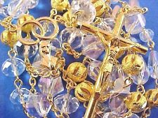 WEDDING ROSARY Double Wedding Rings SWAROVSKI CRYSTAL BUTTERFLY's Gold Plate