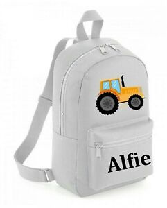 Personalised Backpack School bag,Tractor + Name,Choice of Bag Size + Colour, 201