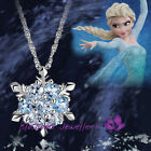 Girls Chic Snowflake Flower Blue Crystal Pendant For Necklace Christmas Gift
