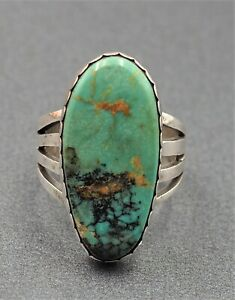 Navajo Sterling Silver & Turquoise Ring Arnold Maloney Fine Vintage Jewellery