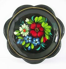 "Hand Painted Plate Russian Metal Yeha Dish Vtg Scalloped Edge Black 7"" Floral"