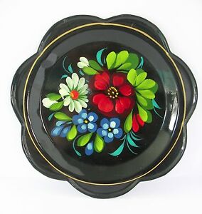 "Russian Lacquer Art Metal Dish Plate Vtg Scalloped Edge Black 7"" Floral"