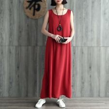 Women Cotton Linen Full Slips Sleeveless Dress Summer Loose Baggy Long Gown