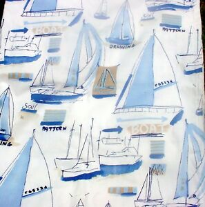 """Soft Blues Boat Design Curtains, 52"""" Wide,63"""" Long, Made in the USA"""