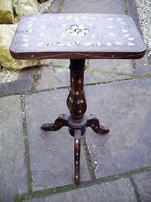 ANTIQUE  ANGLO/INDIAN INLAID PEDESTAL WOODEN  TABLE