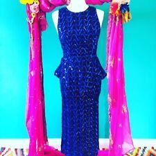 vintage blue sequin ladies party dress