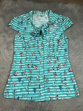 Modcloth Womens Cap Sleeve Pussybow Sailboat Blouse Shirt Sz Small