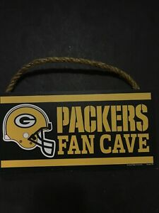 """Green Bay Packers Fan Cave 5"""" X 10"""" Wood Sign With Rope FREE SHIPPING"""