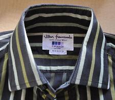 T M Lewin brown and green striped cotton shirt size 16 single cuff Jermyn Street