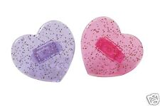 6 Pink & Lilac Glitter Heart Cupcake Rings - Cake Decoration or Party Bags