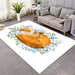 Sleeping Floral Fox Animal Painting Rectangle Rug Carpet Mat Living Room Bedroom