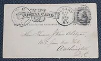 1884 Albany to D.C.  UX7 Liberty US Postal Card - Jon Tenney History of Albany