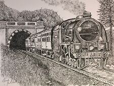 Locomotive In Tunnel - US, Small, Art Reproduction, Artist, Ink, Realism, Train