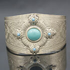 Victorian Ethnic Mayan Calendar Gypsy Stone Etched Concho Bracelet Bangle Cuff H