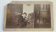 Antique Vintage Early 1900's Cabinet Card Photo Child Writing Desk Homework WOW