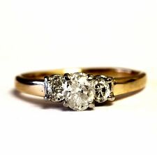 14k yellow gold .78ct I2 H oval diamond 3 stone engagement ring 3.6g estate