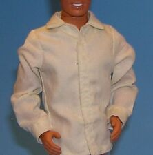 Off white ecru dress shirt Male doll clothes fit Ken 1:6 scale Long sleeve