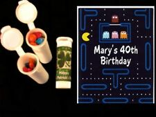 Retro 80's Pacman party favors personalized candy tubes