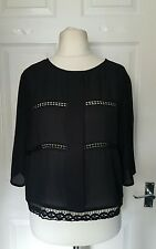 RIVER ISLAND Black Sheer Cut Out Lace Embroidery Blouse Top Size 14