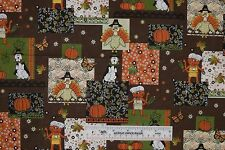 Fat Quarter Thanksgiving Dogs Cats Turkeys Patch Brown Cotton Fabric FQ  (F2) <