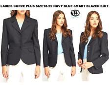 LADIES CURVE PLUS SIZE 18-22 NAVY BLUE PINSTRIPE TAILORED BLAZER SUIT JACKET TOP