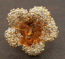 Heavy 18K gold 8.04CTW diamond & Briolette citrine cluster flower cocktail ring