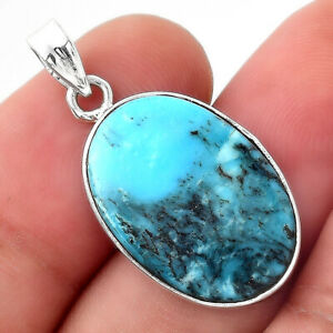 Natural Turquoise Morenci Mine 925 Sterling Silver Pendant Jewelry E251