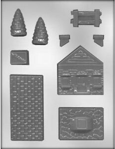 3D House with Fence & Trees Chocolate Candy Mold CK 13635