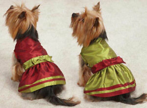 CLOSEOUT Christmas Holiday Dog Dresses Dress Pet Tartan Red Velvet