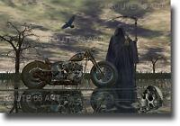 Harley Davidson Shovelhead Chopper Grim Reaper Sturgis Route 66 Biker Art Print