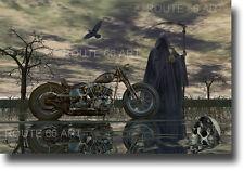 Motorcycle Art Grim Reaper Harley Davidson Chopper Biker Art Print