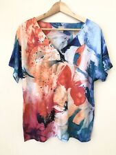 Chicos Multicolor Artistic Whimsical Floral Tee Shirt Top Women XL Size 3 Defect