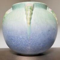 "Vintage 1934 ROSEVILLE TOPEO 245-6"" Blue Bowl Vase Rosettes Ceramic Art Pottery"