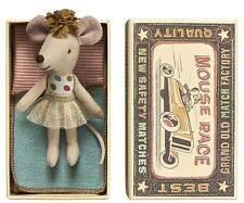 Maileg NEW Little Sister Mouse in Matchbox,  glitzy gold skirt,  FREE Giftwrap
