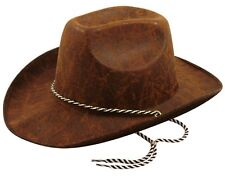 Adult Brown Faux Leather Look Cowboy Hat Fancy Dress Party Costume Accessory