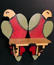Colorful FOLK ART Pennsylvania Painted Wood Shelf w/ Pair of Doves,c1930,Exclent