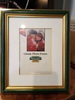 "Holson Classic photo frame for 8 x 10"" photo, dk green/gold freestanding or hang"