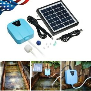 Solar Powered Panel Oxygen Oxygenator Air Pump Aerator Water Pond Fish Tank Home