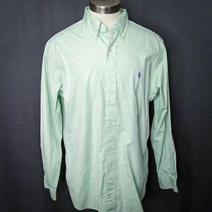Ralph Lauren Mens Shirt 16.5 34/35 Mint Green Long Sleeve Classic Fit Career