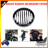 """5.75"""" CNC Black Headlight Grill Cover for Harley FX XL883 XL1200 SPORTSTER DYNA"""