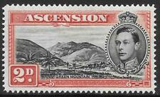 ASCENSION 1949 2d black & scarlet 'Mountaineer' flaw, mint hinged. SG 41ca.