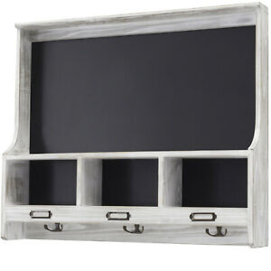 "Grey Wooden Wall Mounted Hanging Coatrack Shelf with Chalkboard 20""x24"""