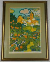 Vintage Original Lithograph Les Orangers by Guy Charon Listed